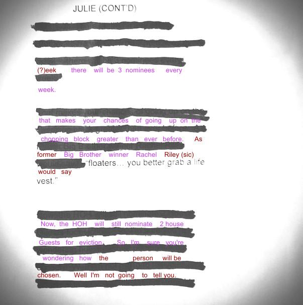 Big Brother 2013 Spoilers – Julie Chen Script