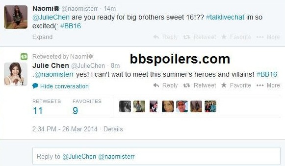 Big Brother 2014 Spoilers – Julie Chen Gves BB16 Spoiler