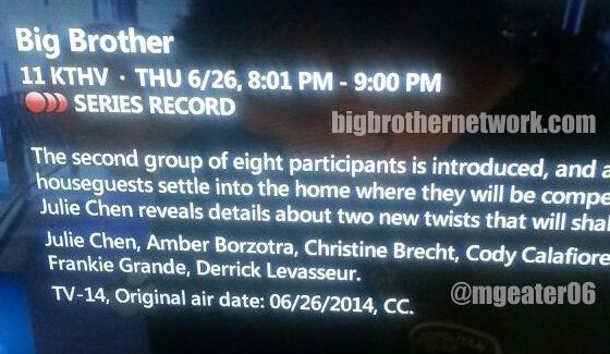 Big Brother 2014 Spoilers – Premiere Move-In
