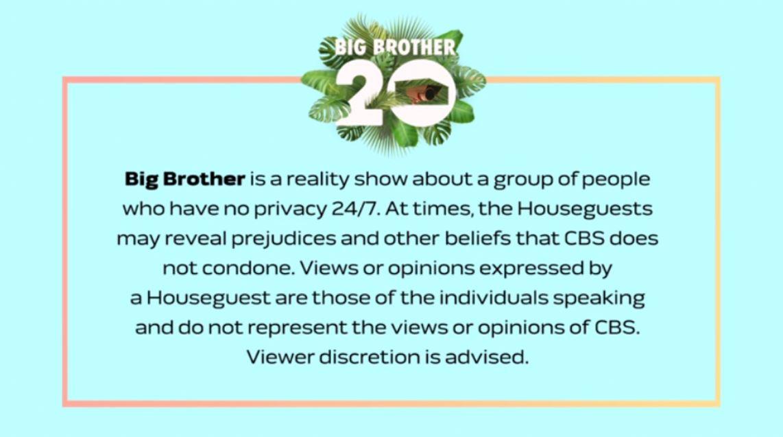 Big Brother 20 Update CBS Releases Statement About Houseguests Behavior